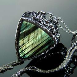srebro,labradoryt,wisior,naszyjnik - Naszyjniki - Biżuteria