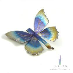 tytan,biżuteria artystyczna,motyl,broszka - Broszki - Biżuteria