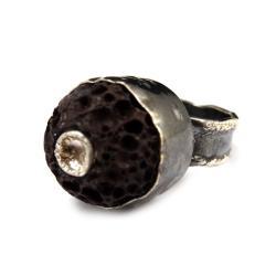 lawa,srebrny,szary,brąz,surowy,oksyda,srebro - Pierścionki - Biżuteria