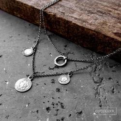 podwójny,z zawieszkami,srebrny,nowoczesny, - Naszyjniki - Biżuteria