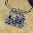 Wisiory Wisor srebrny z opalami i emalią