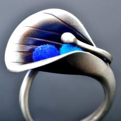 srebrny pierścionek kalia,prezent dla żony - Pierścionki - Biżuteria