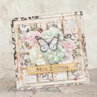 Kartki okolicznościowe patchwork,motyl,kwiaty,życzenia,urodziny,