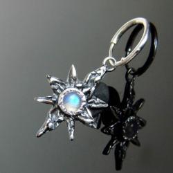 srebro,kamień księżycowy,kolczyki,gwiazda - Kolczyki - Biżuteria