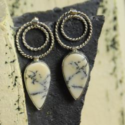 srebro,kolczyki,agat dendryt,filigran - Kolczyki - Biżuteria