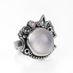 z kwarcem,cyrkonie,srebrny pierścionek,prezent - Pierścionki - Biżuteria