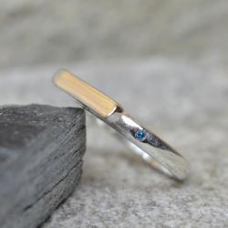 minimalistyczny,elegancki pierścionek z diamentem - Pierścionki - Biżuteria