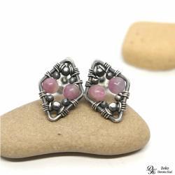 turmalin,róż,różowy,sztyfty,romby,wirewrapping - Kolczyki - Biżuteria