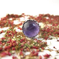 Pierścionek z pięknym ametystem,ametyst,srebro - Pierścionki - Biżuteria