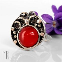 pierścionek srebrny,metaloplastyka,agat,srebro - Pierścionki - Biżuteria