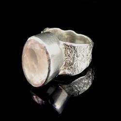 kwarc różowy,blask,srebrny,faset,królewski,retro - Pierścionki - Biżuteria