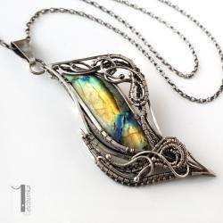 naszyjnik srebrny,wirewrapping,labradoryt - Naszyjniki - Biżuteria