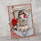Kartki okolicznościowe dziewczynka,urodziny,imieniny,jabłko,gorjuss