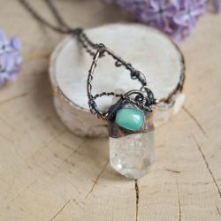 kryształ górski,kwarc,w miedzi,prezent,surowy - Naszyjniki - Biżuteria