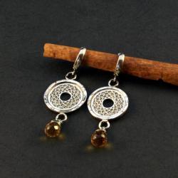 srebrne kolczyki z kwarcem cytrynowym - Kolczyki - Biżuteria