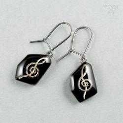 klucz wiolinowy,kolczyki,klucze wiolinowe - Kolczyki - Biżuteria