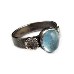 akwamaryn,blask,srebrny,srebro,błękitny,retro - Pierścionki - Biżuteria