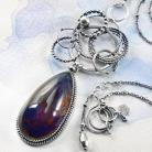 Naszyjniki srebrny,naszyjnik,galaktyka,bursztyn,niebieski