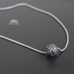 kula,kulka,łańcuszek,ażurowa,oksydowana,naszyjnik - Naszyjniki - Biżuteria