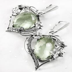 srebrne,kolczyki,wire-wrapping,prasiolit,motyle - Kolczyki - Biżuteria