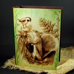 wiewiórka,ptak,wypalanie - Pudełka - Wyposażenie wnętrz