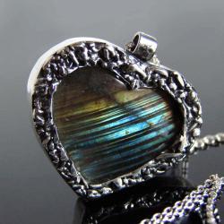 srebro,labradoryt,naszyjnik,serce - Naszyjniki - Biżuteria