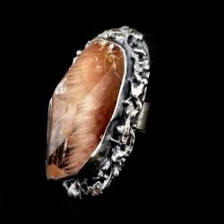 kwarc,srebrny,szarości,srebro,minerąły,róż,bordo - Pierścionki - Biżuteria