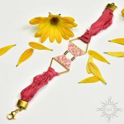 boho,na lato,jedwab,geometryczna,sari,różowa - Bransoletki - Biżuteria