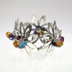 srebrna bransoleta kwiaty - Bransoletki - Biżuteria