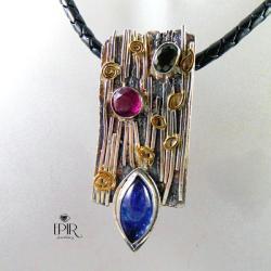 srebrny wisior z tanzanitem i turmalinami - Wisiory - Biżuteria