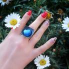 Pierścionki biżuteria tytanowa,niebieski pierścionek