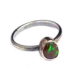 opal,australijski,srebrny,pierścień,delikatny,neon - Pierścionki - Biżuteria