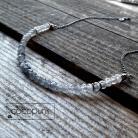 Naszyjniki cieniowany,delikatny,krótki,kwarc,szary,srebrny