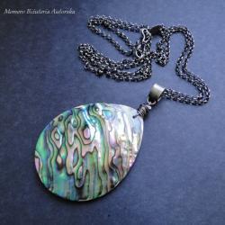 srebro,muszla,Paua,wisior,surowy - Wisiory - Biżuteria