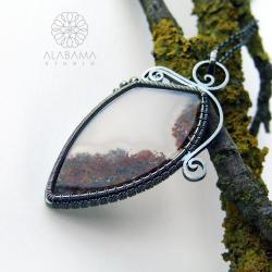 dwustronny wisior z agatem mszystym,alabamastudio - Wisiory - Biżuteria