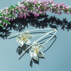 kwiaty,cytryn,boho,kobiece - Kolczyki - Biżuteria
