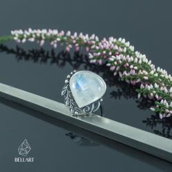 listki,kamień księżycowy,regulowany,romantyczny - Pierścionki - Biżuteria