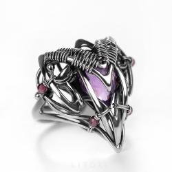 ametyst,fioletowy,srebrny,litori - Pierścionki - Biżuteria