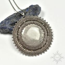 srebrny,obsydian,medalion,okrągły,misterny,kobiecy - Wisiory - Biżuteria