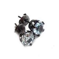 topaz,błękit,swiss,blask,niebo,b,srebrnne,szare - Kolczyki - Biżuteria