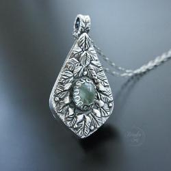 srebrny,naszyjnik,z akwamarynem,elficki - Naszyjniki - Biżuteria