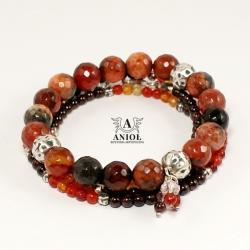 bransoleta z agatów,damska bransoleta,koraliki - Bransoletki - Biżuteria