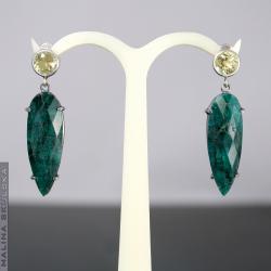 eleganckie,klasyczne,cytryn,szmaragd,efektowne - Kolczyki - Biżuteria