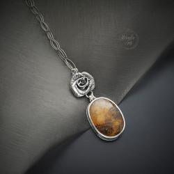 srebrny,naszyjnik,z kwiatem,z kwarcem - Naszyjniki - Biżuteria