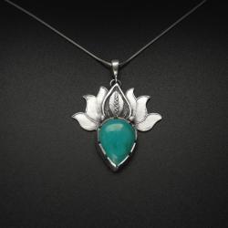 lotos,wisiorek,biżuteria srebrna,rękodzieło - Wisiory - Biżuteria