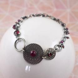 bransoletka,rubin,srebrna,elegancka,bordowa - Bransoletki - Biżuteria