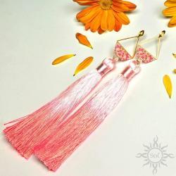 boho,na lato,chwosty,długie,geometryczne,różowe - Kolczyki - Biżuteria