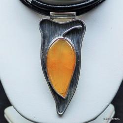 bursztyn,naszyjnik z bursztynem,srebro,biżuteria - Naszyjniki - Biżuteria