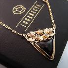 Naszyjniki złoty naszyjnik z turmalinem i diamentami