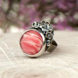 srebrny poerścionek,rodonik,secesyjny,kwiaty - Pierścionki - Biżuteria